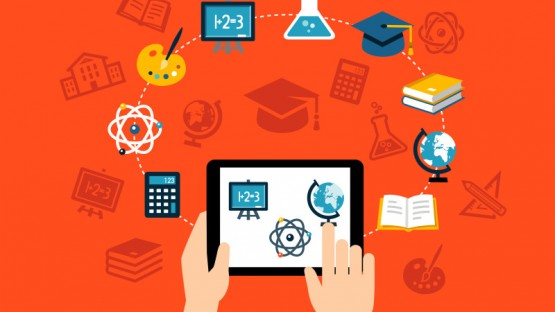 Background with flat design icons representing education, studying, e-learning or online training. Can be used for print, web or for mobile app design.