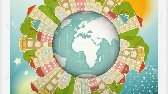 17973523-Small-Planet-avec-Little-Town-Maisons-autour-de-la-plan-te-Terre-Illustration--Banque-d'images