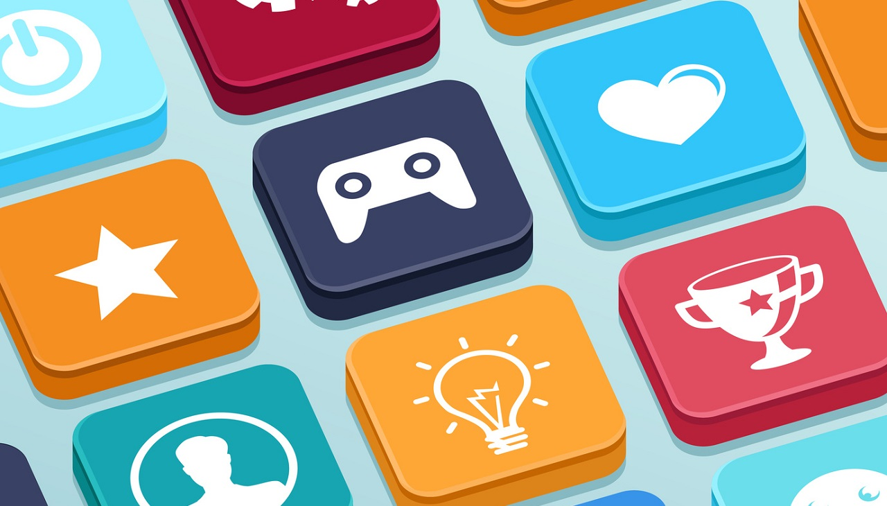 Vector mobile app game - buttons in flat style - gamification and technology concept